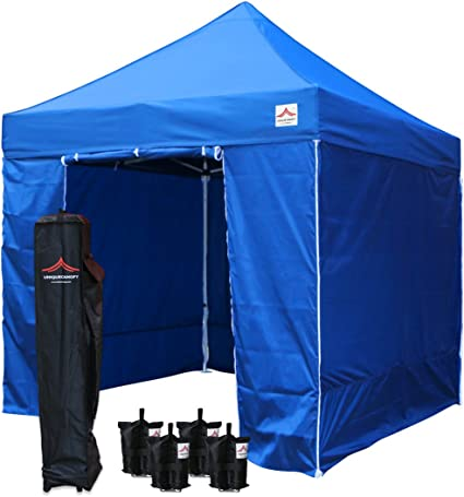 with 4 Removable Zippered Side Walls and Heavy Duty Roller Bag UNIQUECANOPY 10x10 Ez Pop Up Canopy Tent Commercial Instant Shelter 4 Sand Bags Black