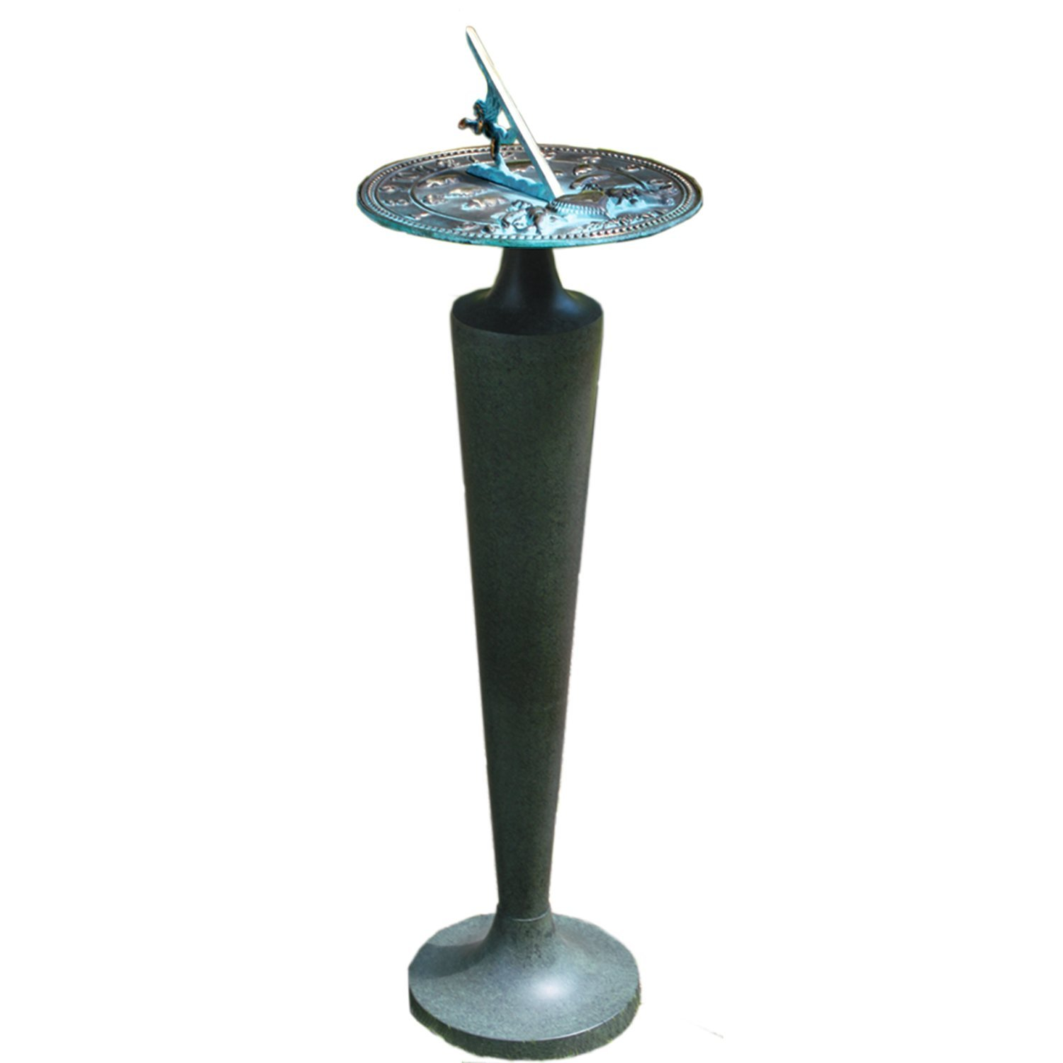 Rome B29 Aluminum Taper Sundial Pedestal, Cast Aluminum with Moss Green Patina Finish, 28-Inch Height by Rome