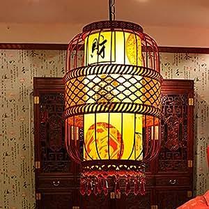 Estilo chino, Gräwe Vogelkäfig, bombilla/Antiguo faroles clásica Pergamino araña