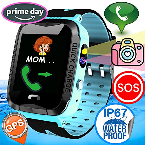 Kid Smart Watch Phone GPS Tracker IP67 Waterproof Fitness Tracker Watch Phone Boys Girls Game Smartwatch Pedometer Sport Watch Run Swim Outdoor GPS Locator App for iOS/Android Birthday