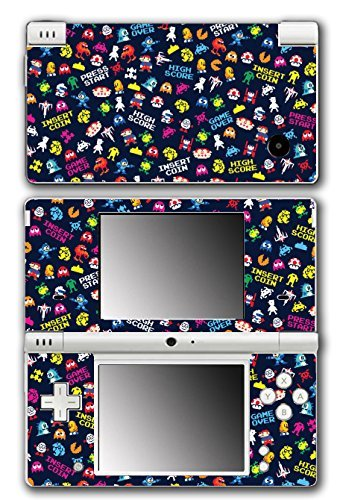 Retro Video Game Pixel Art Mega Man Bubble Bobble Galaga Game Over Insert Coin Mario Video Game Vinyl Decal Skin Sticker Cover for Nintendo DSi System by Vinyl Skin Designs