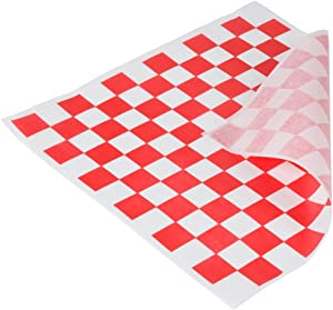 Red & White Check Sandwich Paper Wrap – 12 x 12 inch Deli Waxed Papers Food Basket Liners Wrapping Checkered Sheets; Made in USA (50)