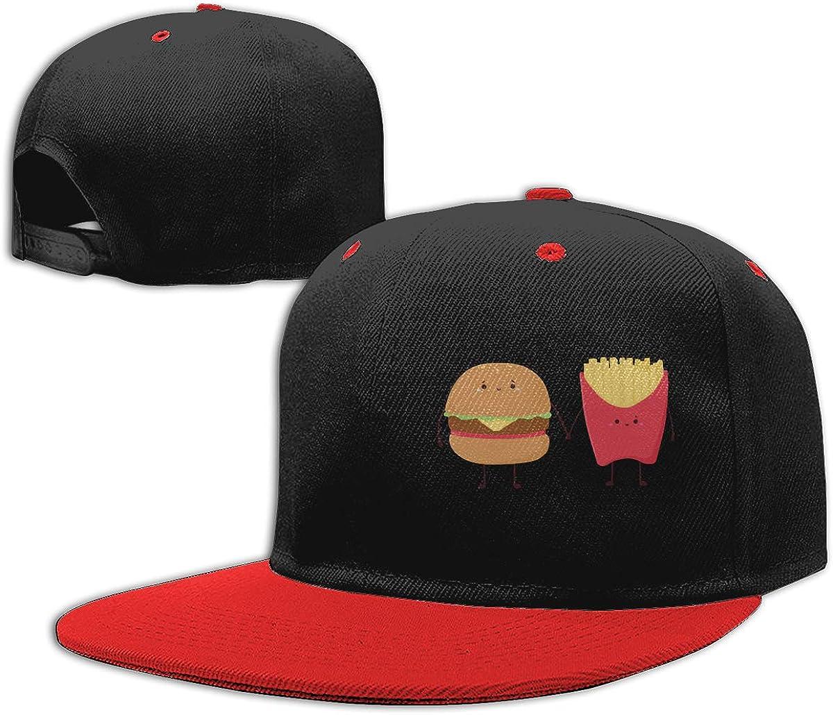 Burger and Fries1 Unisex Flat Bill Baseball Caps NMG-01 Men Womens Plain Cap