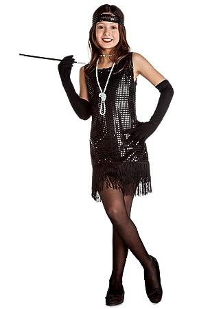 Disfraz de Charlestón Negro con flecos para niña: Amazon.es ...