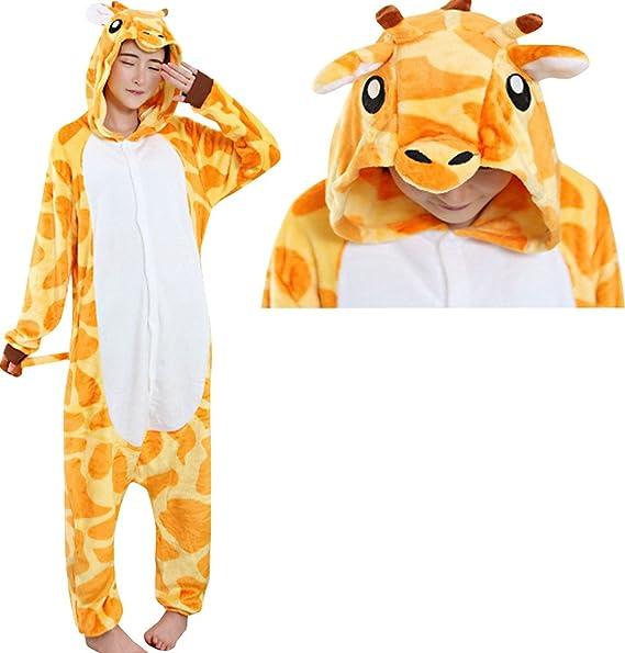 ebcd2392a3 Amazon.com  JudyBridal Unisex Anime Giraffe Onesie Adult Pajamas Cosplay  Costume Halloween  Clothing