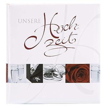 Goldbuch Hochzeitsalbum, Wedding, 30 x 31 cm, 60 weiße Seiten und 4 illustrierte Seiten mit Pergamin-Trennblättern, Laminierter Kunstdruck, Weiß, 08055