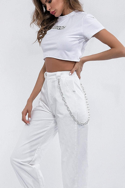Yacun Mujer Casual Pantalones Cargo Pantalon Hip Hop Jogger Con Cadena Danza Streetwear Boyfriend Harem Mujer Pantalones