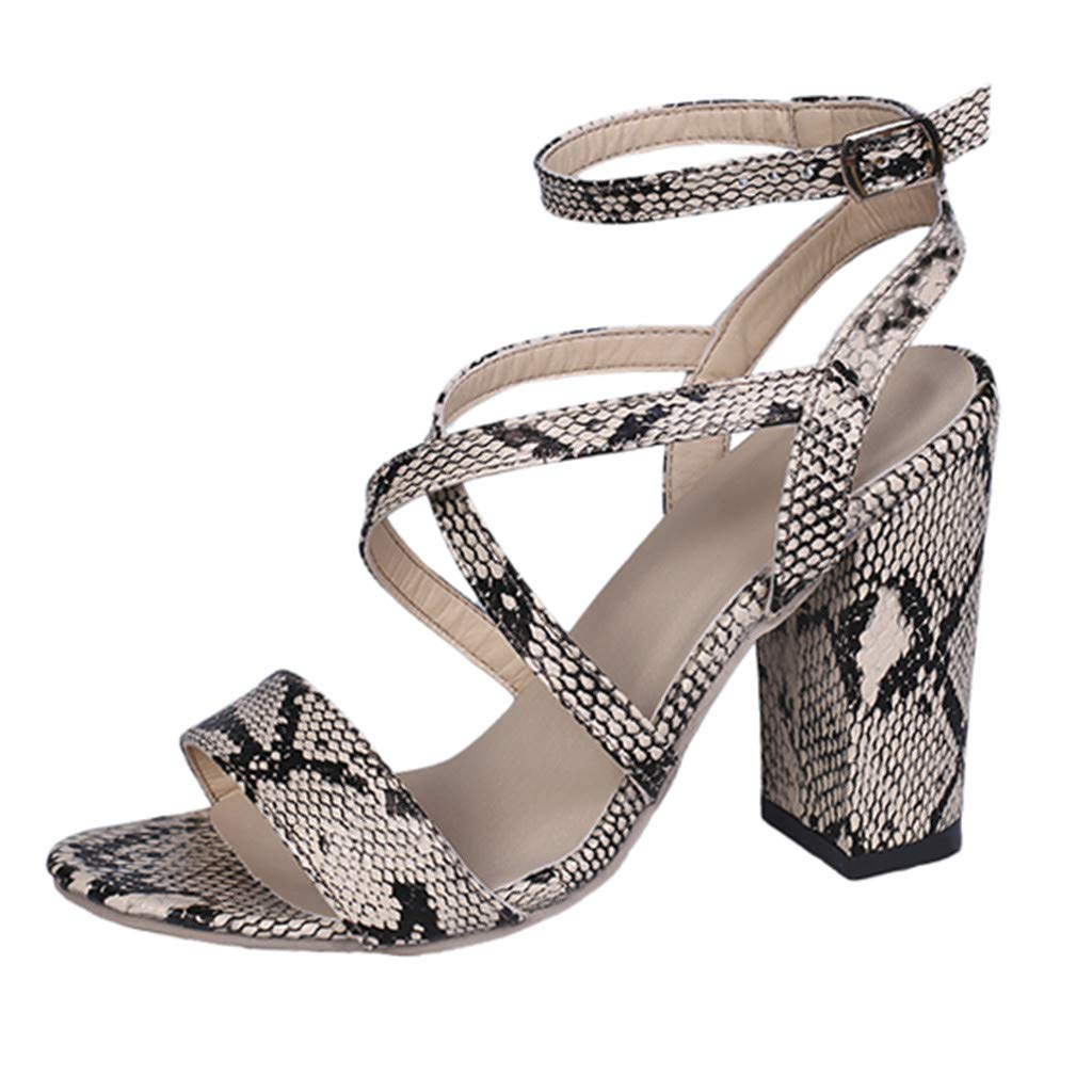 Sandals for Women THENLIAN Fish Mouth Buckle Strap Sandals High Heels Party Open Toe Shoes(36, Gold)