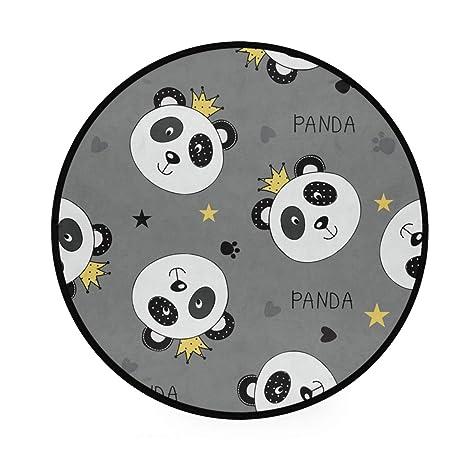 Alfombra redonda antideslizante de color gris panda para ...