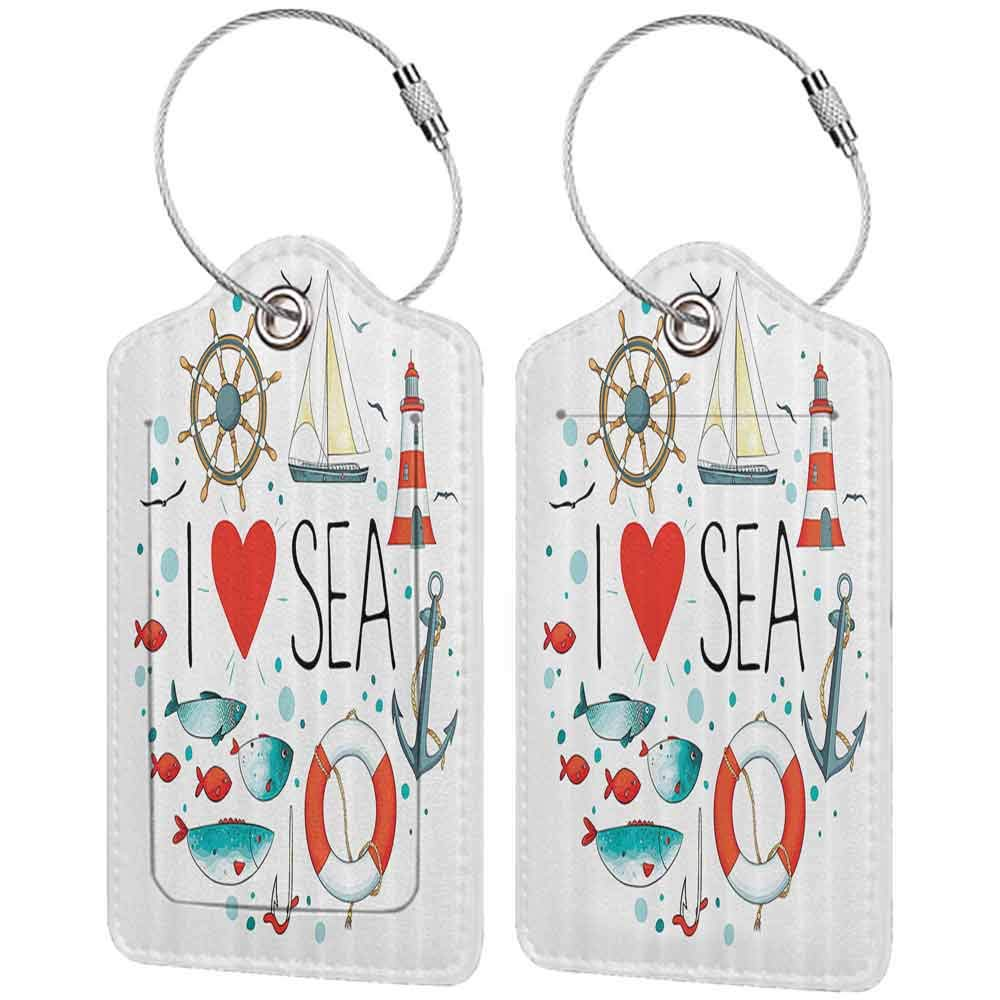 Multi-patterned luggage tag Nautical Decor I Love Sea Quote With Heart Figure And Sea Materials Anchor Compass Knotted Rope Double-sided printing White Red Blue W2.7 x L4.6