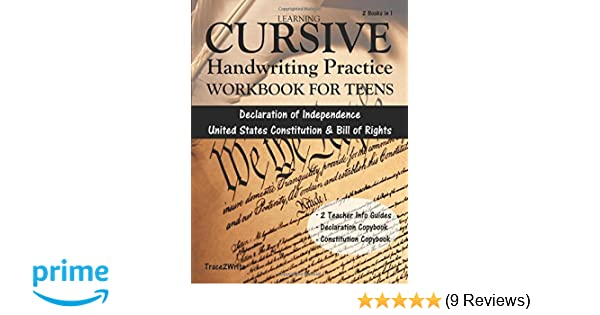 Learning cursive handwriting practice workbook for teens with learning cursive handwriting practice workbook for teens with declaration of independence united states constitution bill of rights copybook fandeluxe Gallery