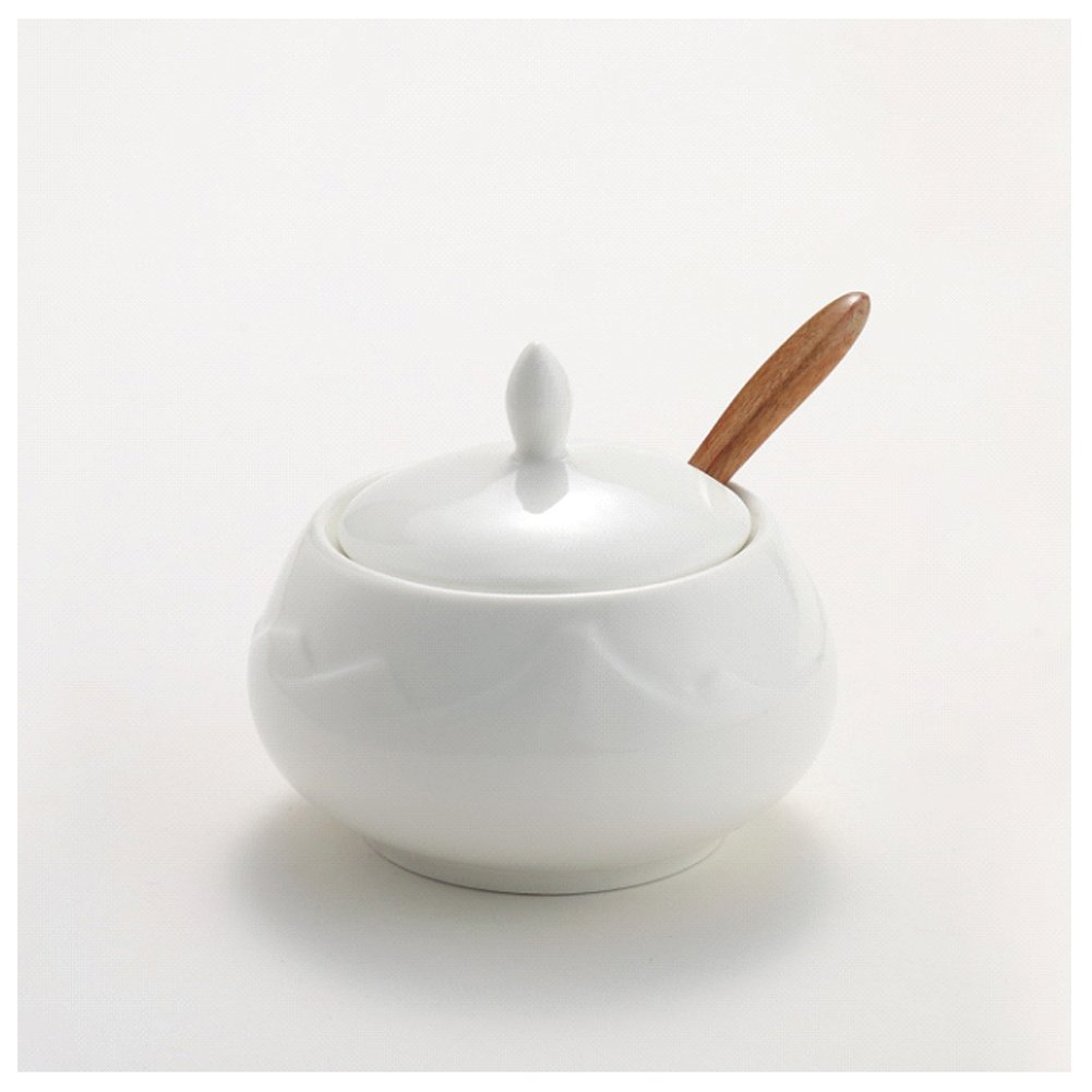 Hetoco Sugar Bowl, Ceramic Sugar Bowl with Lid and Bamboo Spoon for Home and Kitchen - Mountain Design, White