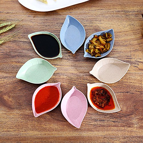 Baost Creative Leaf Shape Wheat Straw Seasoning Dish Sauce Dipping Bowls Vinegar Mini Dinnerware Plate Sauce Serving Dishes Condiment Dish for Paste, Jam, Appetizer, Snack Green by Baost (Image #5)