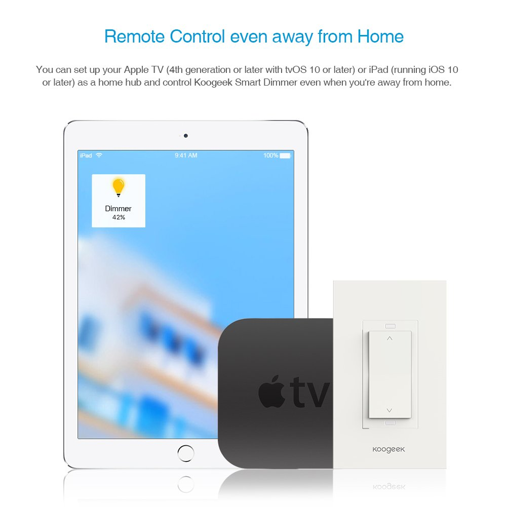 Koogeek Smart WiFi Light Switch Dimmer Works with Apple Homekit, Only for Single Pole, Support Siri on 2.4GHz Network 4 Packs (Require Neutral Wire) by Koogeek (Image #5)
