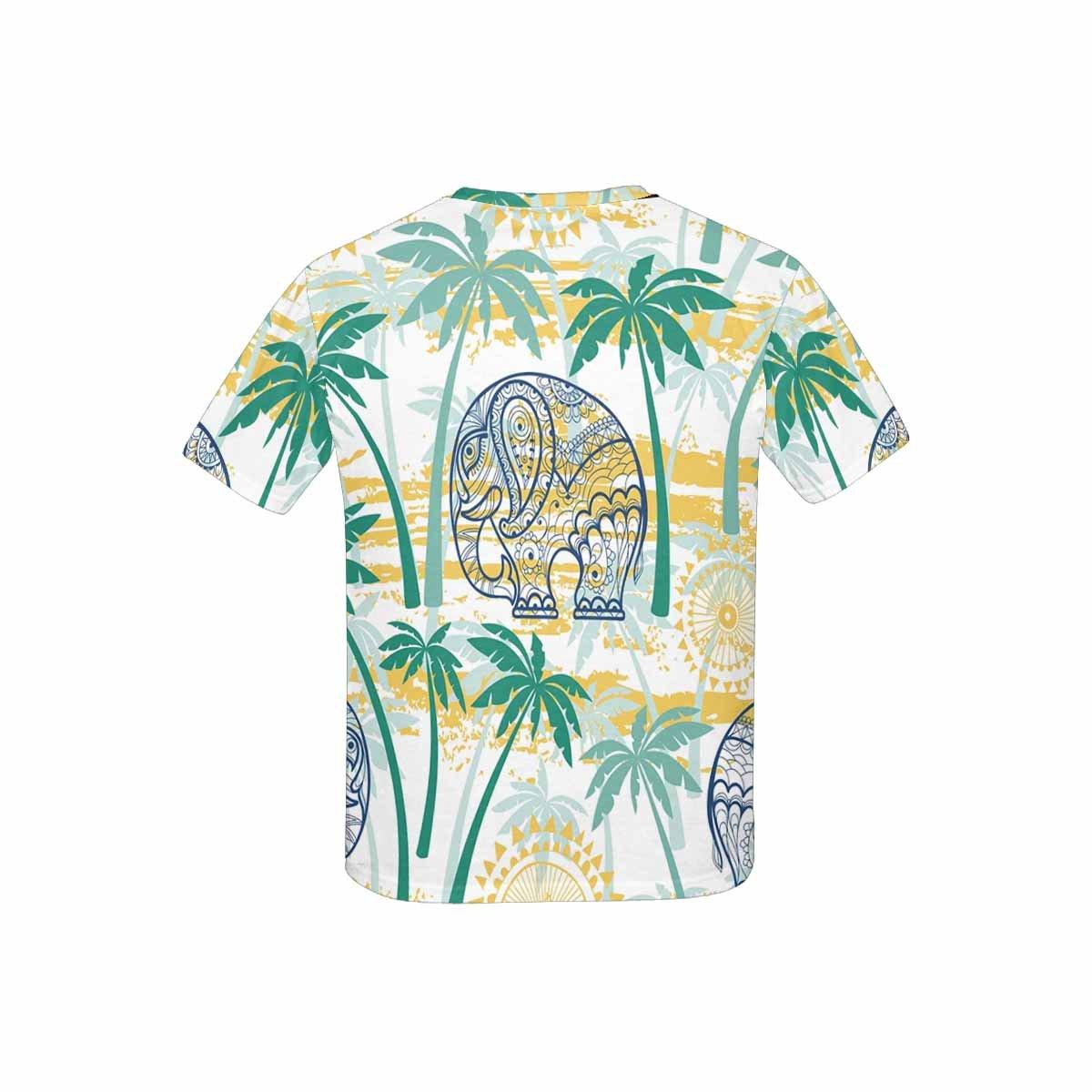 INTERESTPRINT Childs T-Shirt Elephants and Palms XS-XL
