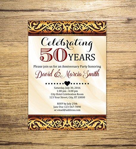 amazon com 50th wedding anniversary invitation wine and gold 50th