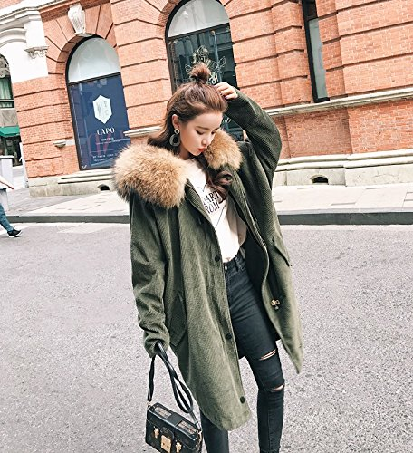 Xuanku Corduroy Star Model Pike Coat Fur Bone Collar Collar Autumn And Winter Women Army green big 3119