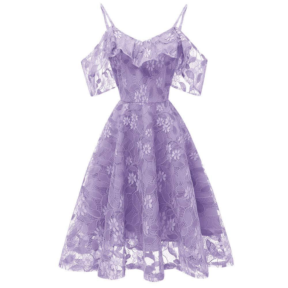 DEATU Princess Lace Dress Women Vintage Floral Cute Lace Cocktail Neckline Ladies Party Aline Swing Sleeveless Dress(Purple,S)