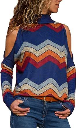 Landove Sudadera Hombro Caido Mujer Cuello Alto Boho Camisa Geometrica: Amazon.es: Ropa y accesorios