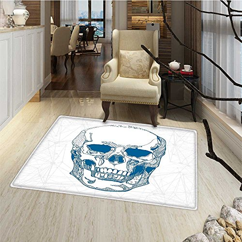 Skull Door Mats for home Hand Drawn Human Skull with Science Elements Background Medical Theme Illustration Bath Mat for tub Bathroom Mat 18''x30'' Blue White by Anmaseven