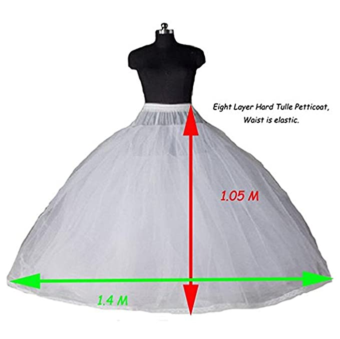 XYDS Women\'s 8 Layers Tulle Ball Gowns Dresses Petticoats With No ...