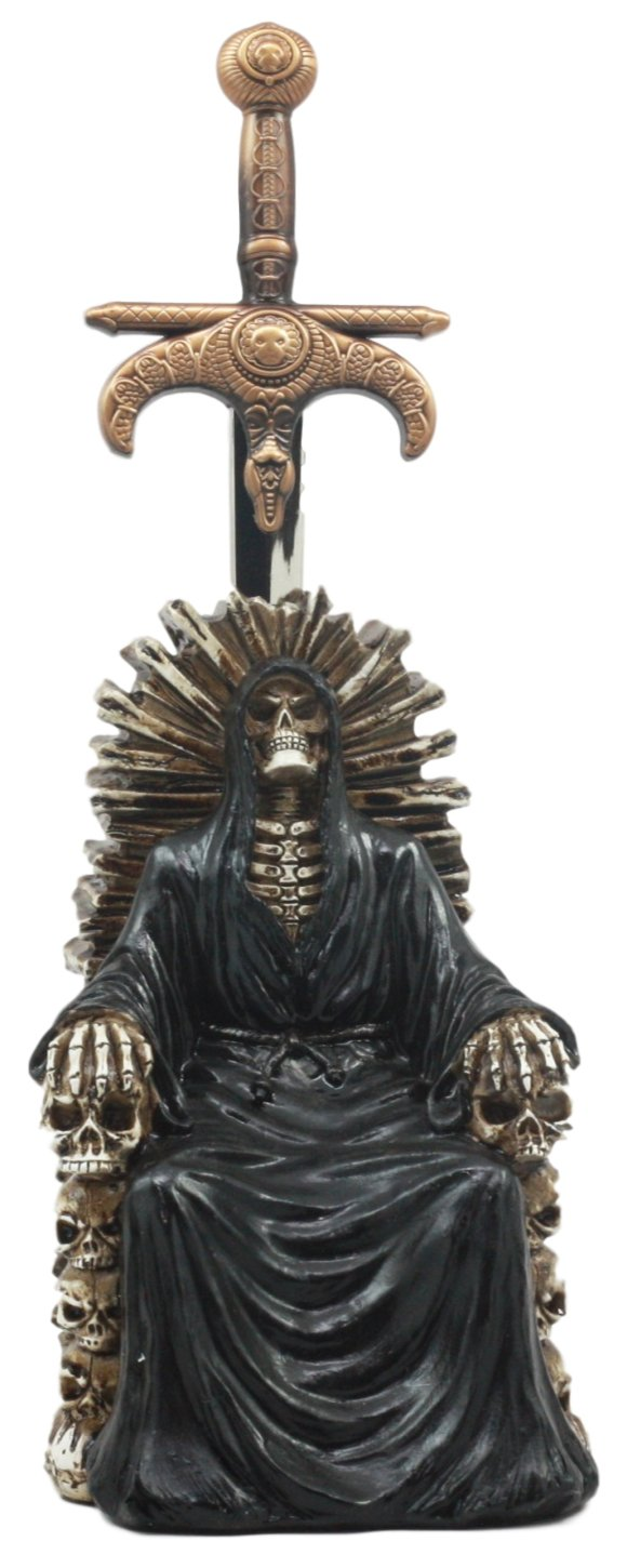 Ebros Legend Of The Swords Night King Grim Reaper Seated On Ossuary Skulls Throne Letter Opener Statue With Blade Of Ragnarok Sword 8.25''Tall For Study And Office Desktop Decor Statue