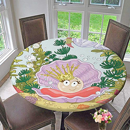 Mikihome Modern Simple Round Tablecloth Princess Pearl in