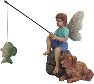 TG,LLC Miniature Fairy Boy Fishing with Dog Garden Ornament Dollhouse Decor Accessory