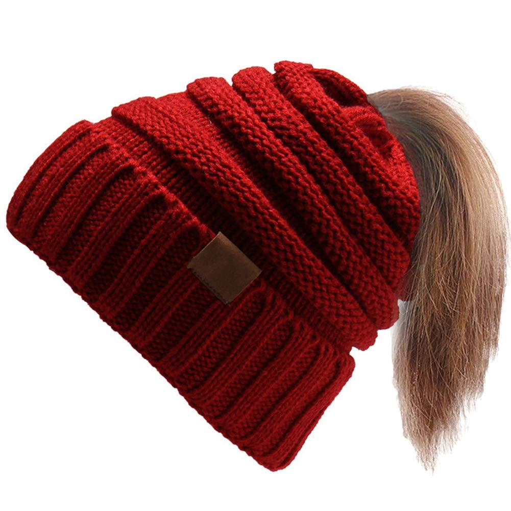 Ymombest Women's Ponytail Beanie Messy Bun Hat Knit Ribbed Soft Warm Winter Cap
