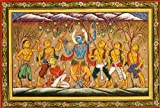 Krishna Lifts Mount Goverdhan - Paata Painting on Tussar Silk Fabric - Folk Art from the Temple Town