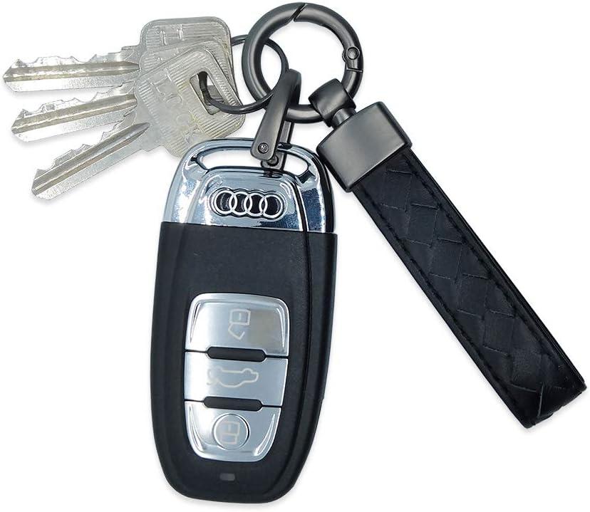 LABEN Key Chain Lambskin Handwoven Genuine Leather Detachable Keychain Black Large