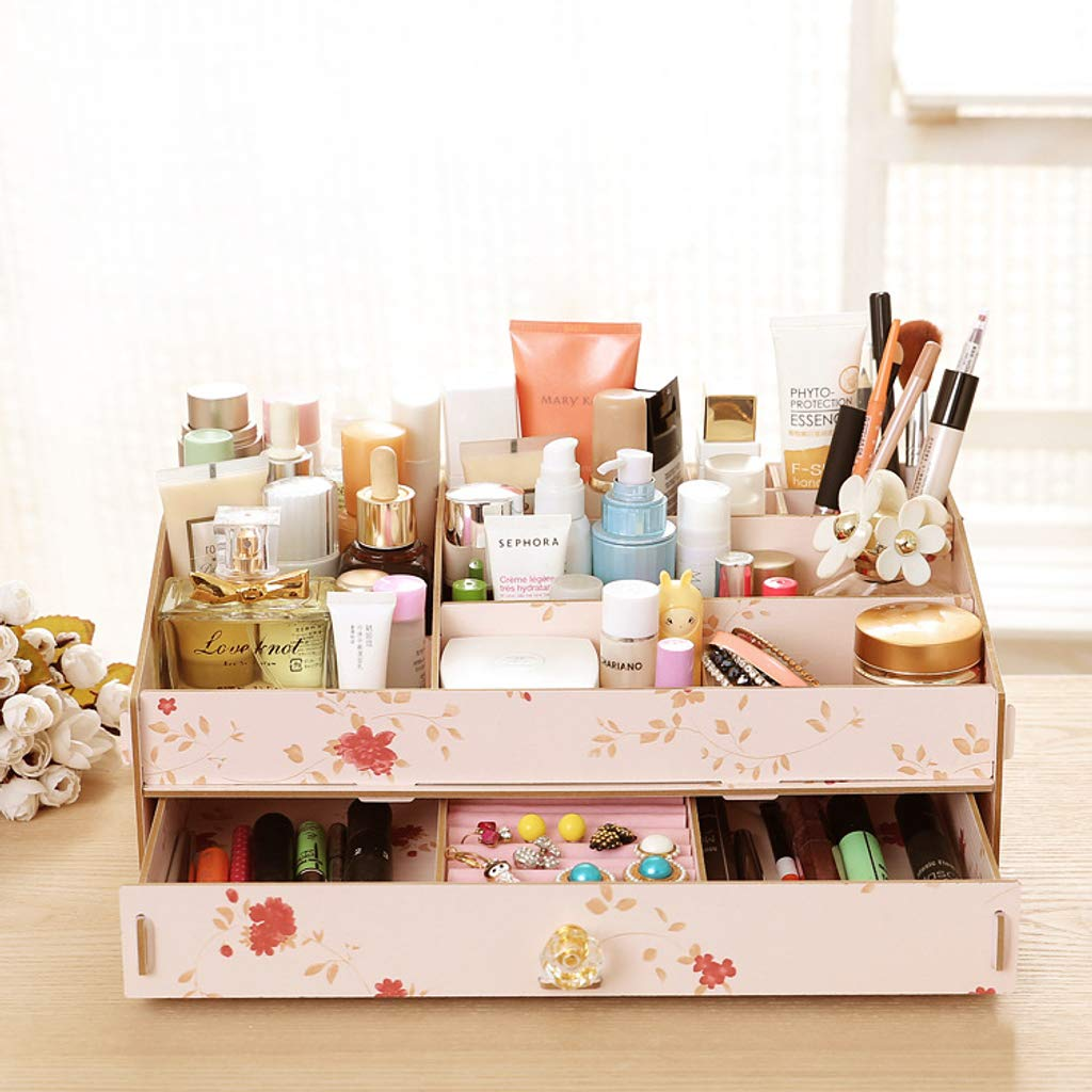 Amazon.com: CLGTY Makeup Organizer Rhinestone handle Wooden ...