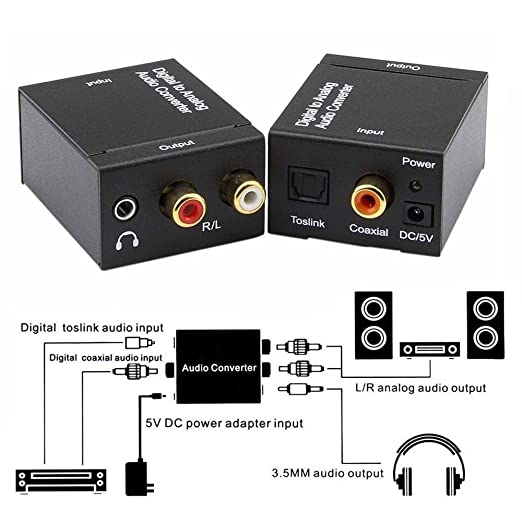 Amazon.com: KSRplayer Digital Audio Converter Optical SPDIF Toslink Coaxial to Analog RCA L/R Adapter with 3.5mm Jack: Home Audio & Theater