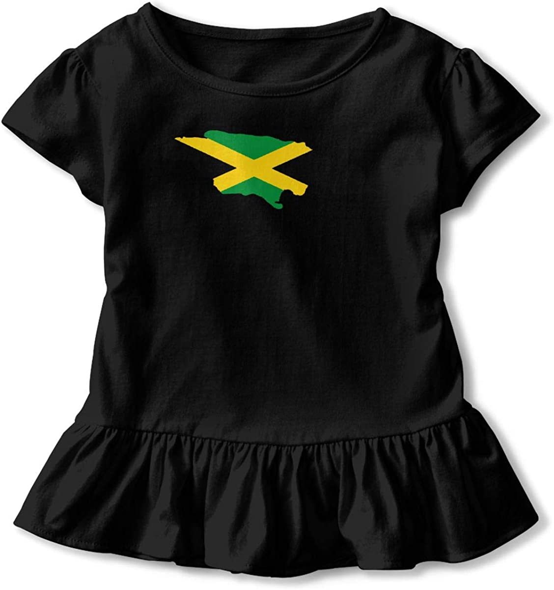 Kawaii Tunic Shirt Dress with Falbala Zi7J9q-0 Short-Sleeve Jamaican Flag Shirts for Children 2-6T