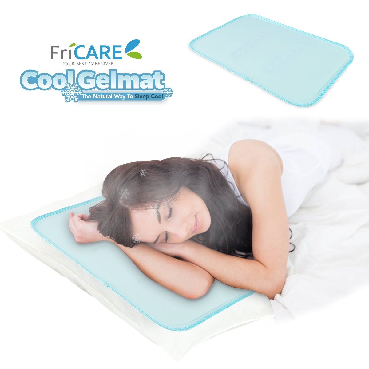 FriCARE Patented Cool Gel Pillow Mat, Soft Gel Pad for Migraines | Hot Flashes | Neck Pain Relief, No Water Leaking, 34 x 54 CM, Green