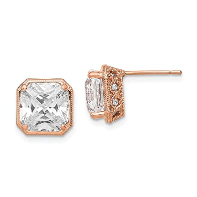 26abfe771 Amazon.com: Stud Earrings Textured Polished Solid 9.34 mm 9.34 mm 10K Rose Gold  Tiara Collection CZ Post Earrings: Jewelry