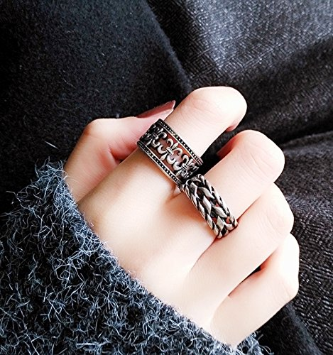 Generic Korean version of the influx of people S925 Thai silver ring women girls lady retro exaggerated personality ring jewelry creative pasta joint width