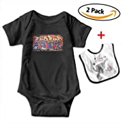 Louis Woodrow Hip Hop Unisex Cotton Short Sleeve Baby Onesies Baby Clothes with Bib