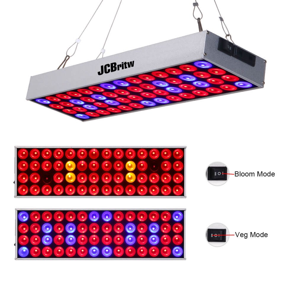 JCBritw LED Grow Light Panel Full Spectrum with Veg Bloom Dual Switch 30W Plus Plants Growing Lamps Aluminum Made with Daisy Chain for Indoor Plants Hydroponic Greenhouse Veg and Flower