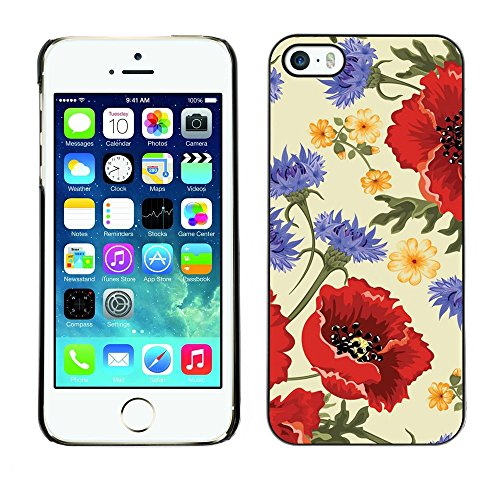 Soft Silicone Rubber Case Hard Cover Protective Accessory Compatible with Apple iPhone? 5 & 5S - flower red vintage vignette