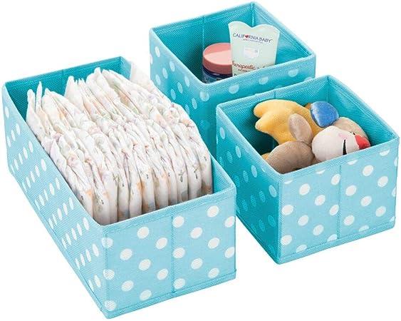 mDesign Juego de 3 cajas de almacenaje para habitaciones infantiles, baño, etc. – Cestas organizadoras de lunares – Organizadores de armario infantil de fibra sintética en 2 tamaños – turquesa/blanco: Amazon.es: Hogar