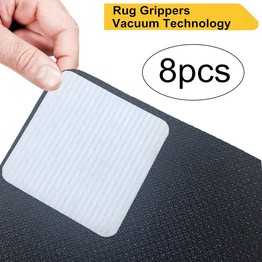 Rug Grippers, Non Slip Carpet Gripper, Anti Curling Rug Pad Tape Washable Carpet Gripper Reusable Flooring Rug Tape for Hardwood Floors, Carpets, Area Rugs and Mats- 8 Pieces
