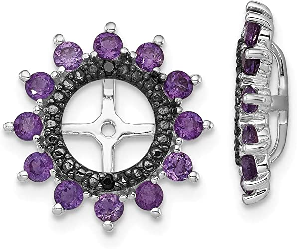 FB Jewels Solid Sterling Silver Rhodium Plated Diamond /& Amethyst Post Earrings