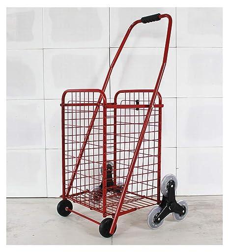 QIANGDA-Carros Carrito Compra Plegable Escaladora Los Ancianos Carrito De Supermercado Cesta Marco De Metal