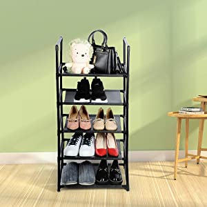 5 Tier Shoe Rack for Small Space,Separable into Two Narrow Shoe Rack(2 Tier and 3 Tier), Sturdy Metal Shoe Rack Organizer, Small Shoe Rack,Shoe Racks for Closets,Shoes Rack,Shoe Stand,Shoe Shelf