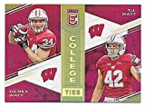 2017 Panini Elite College Ties Gold #7 Derek Watt & T.J. Watt #4/5 WISCONSIN