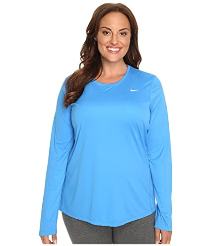 reputable site f57f7 a39e0 Image Unavailable. Image not available for. Color  Nike Women s Miler  Long-Sleeve Running Top Light Photo Blue T-Shirt 1X