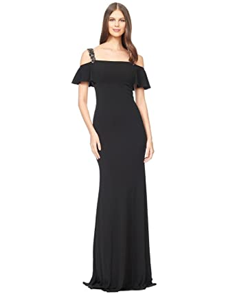 Amazoncom David Meister Cold Shoulder Beaded Jersey Evening Gown