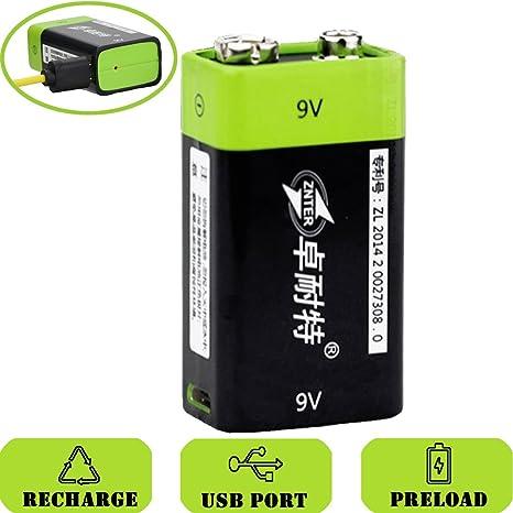 SOEKAVIA Batería de 9 V Prismatic Micro USB integrado polímero de litio recargable con cable USB