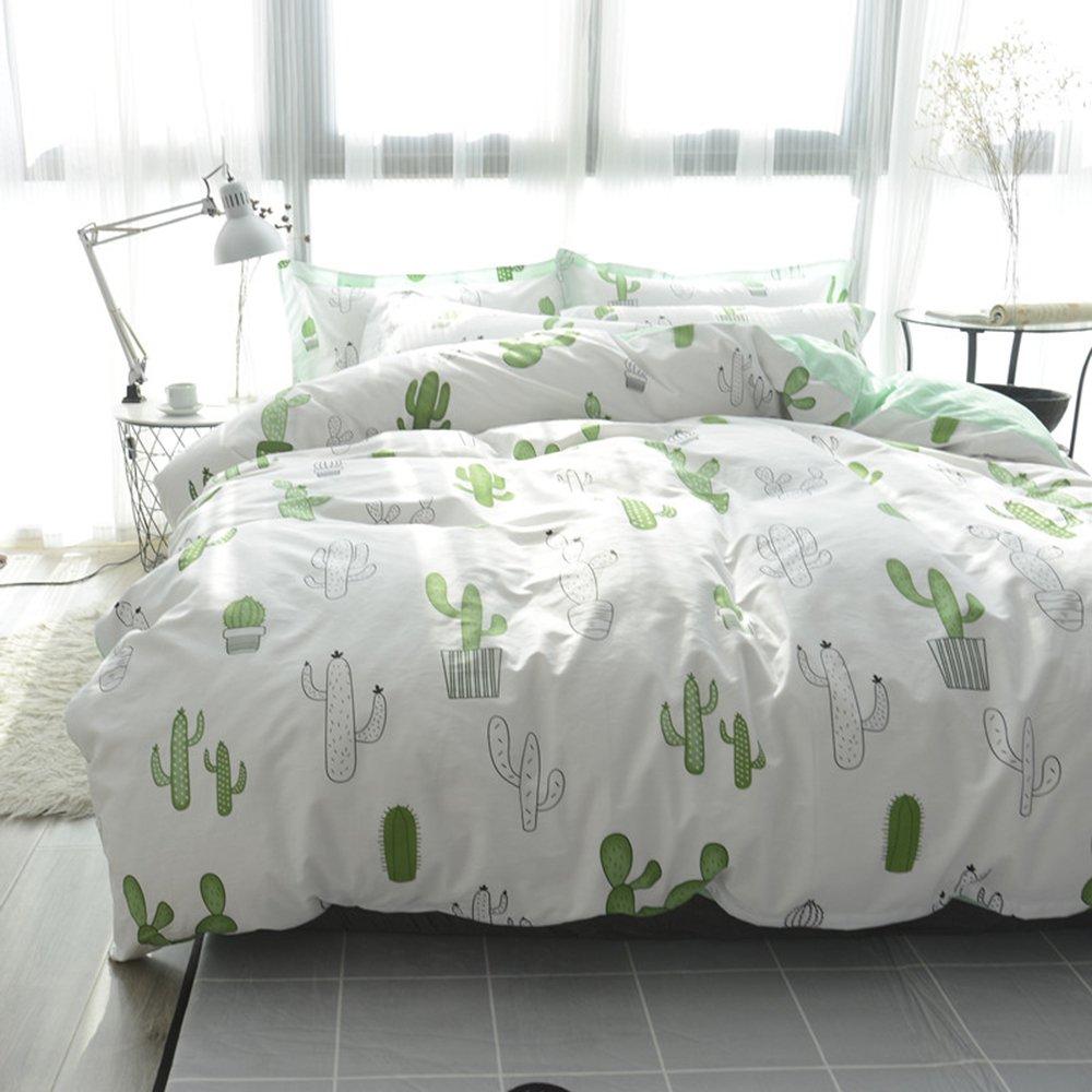 HIGHBUY Cactus Printed Kids Bedding Duvet Cover Set Twin Reversible 100% Cotton Comforter Cover White Green Children Plant Duvet Cover 2 Pillow Shams,3 Piece Twin Bed Girls Bedding Cover Set,Cactus